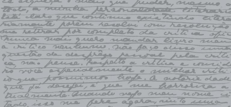 Fragmento de uma carta de Mário de Andrade a Alceu Amoroso Lima, como ilustração da coleção Correspondência de Mário de Andrade.